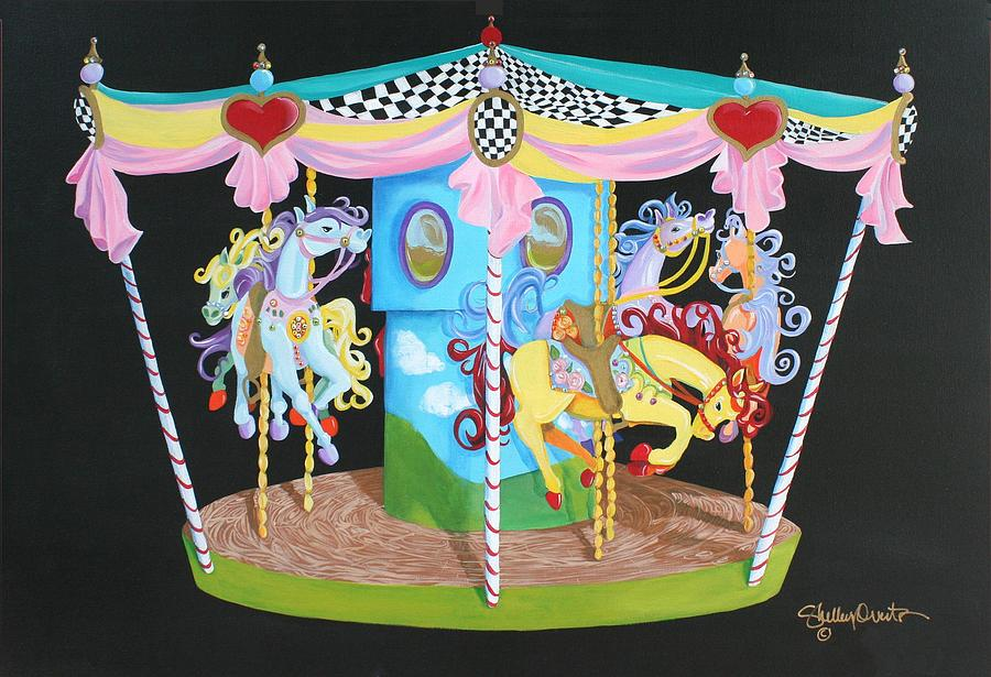 Carousel Painting - Carousel Horses by Shelley Overton