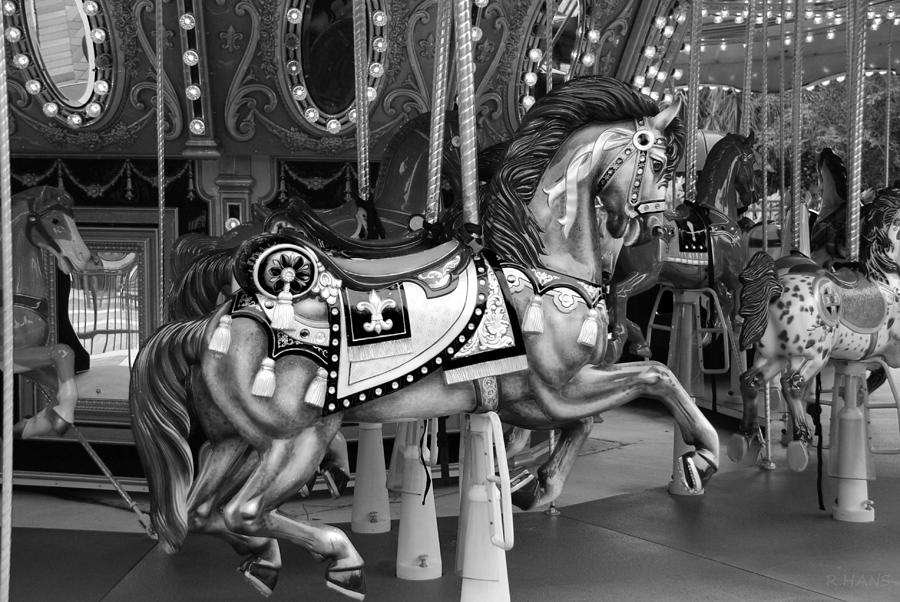 Carousel In Black And White 3 Photograph