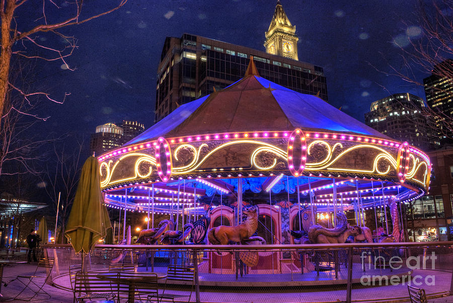 Amusement Ride Photograph - Carousel In Boston by Juli Scalzi