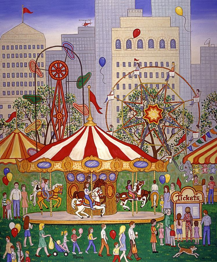 City Scape Painting - Carousel In City Park by Linda Mears