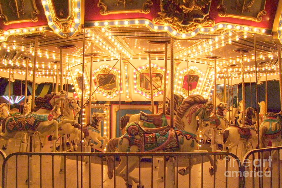 Carousel Night Lights Photograph By Mary Deal