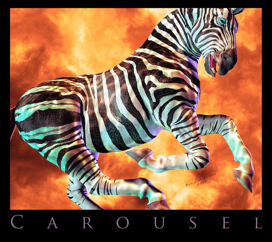 Zebra Digital Art - Carousel Zebra by Betsy Knapp
