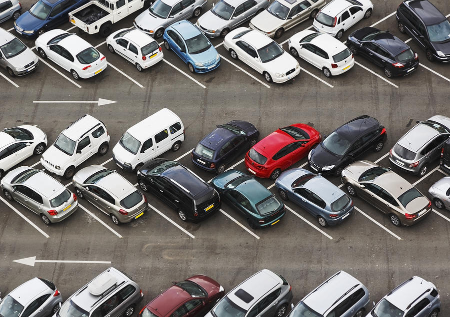 Carpark Viewed From Above With Cars Photograph by Ken Welsh / Design Pics