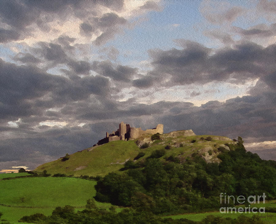 Castle Ruins Digital Art - Carreg Cennen Castle North Face by Anthony Forster