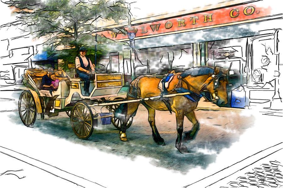 Asheville Mixed Media - Carriage Ride by John Haldane