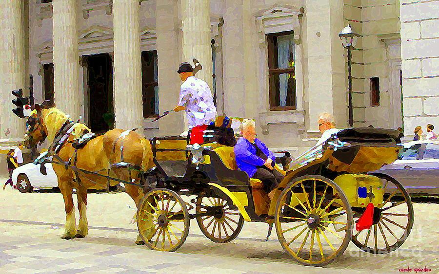 Montreal Painting - Carriage Ride On Cobblestones Rue Notre Dame Tan Horse Golden Caleche Old Port Quebec Scene Cspandau by Carole Spandau