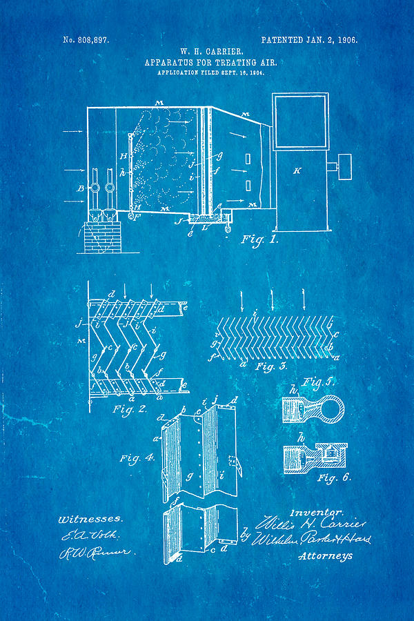 Carrier Air Conditioning Patent Art 1906 Blueprint