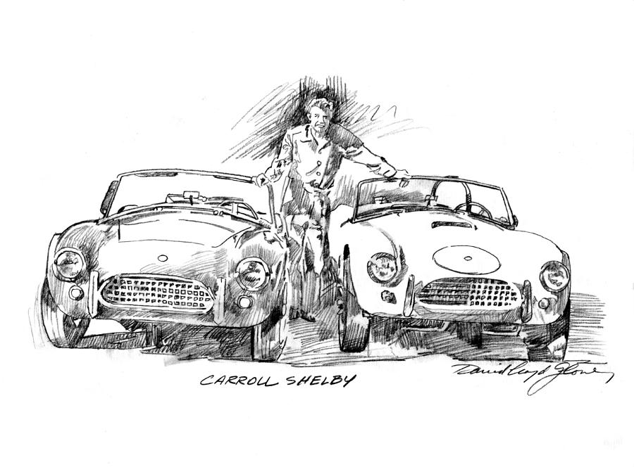 Carroll Shelby Drawing - Carroll Shelby And The Cobras by David Lloyd Glover
