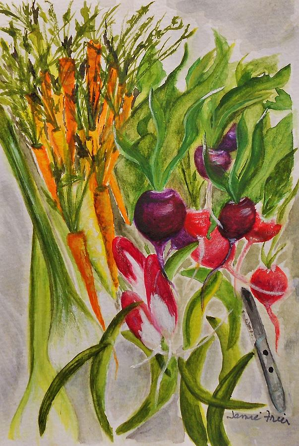 Watercolor Painting - Carrots And Radishes by Jamie Frier
