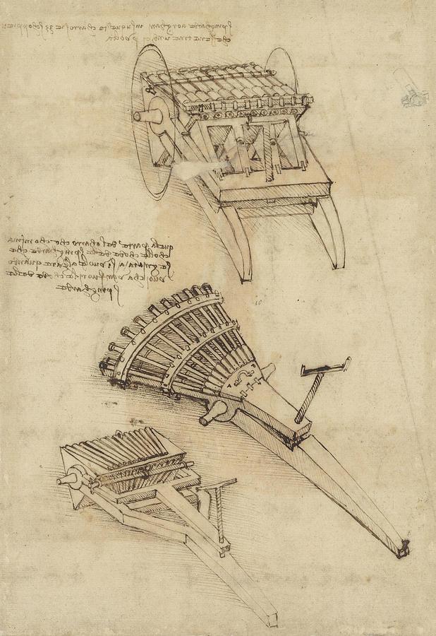 Leonardo Drawing - Cart And Weapons From Atlantic Codex by Leonardo Da Vinci