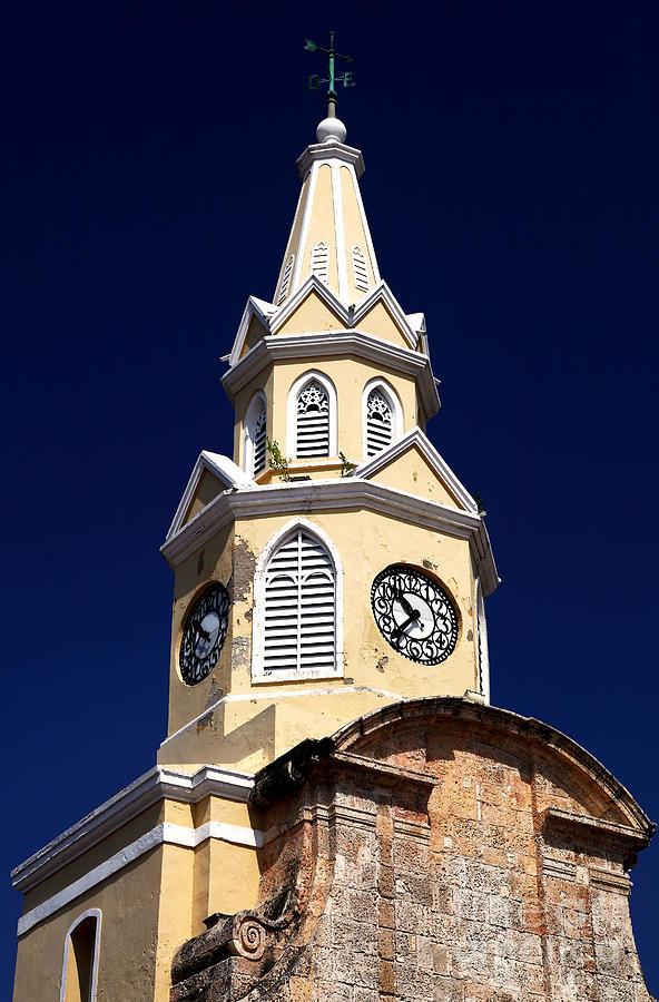Clock Photograph - Cartagena Double Time by John Rizzuto