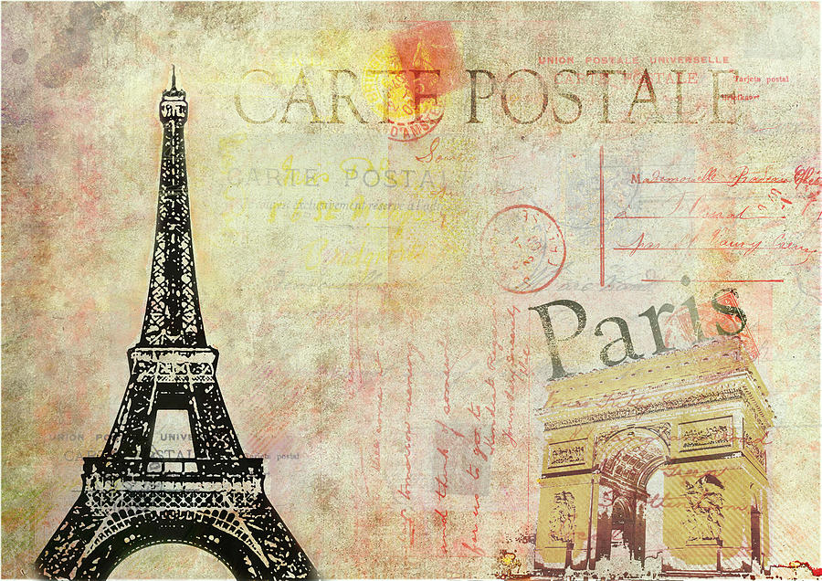 carte postale de paris digital art by patricia hubert