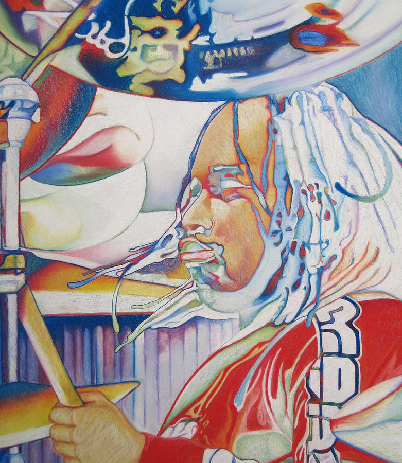 Carter Beauford Drawing - Carter Beauford Colorful Full Band Series by Joshua Morton