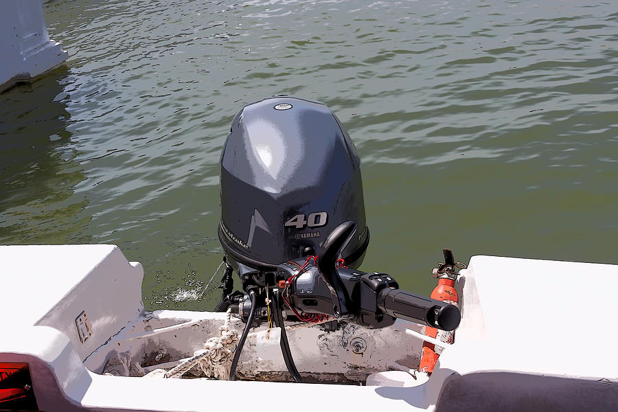 Cartoon Outboard Motors : Cartoon a yamaha outboard motor attached to boat in