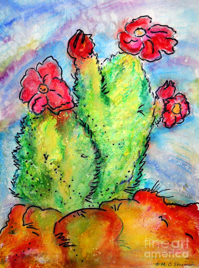 Cactus Painting - Cartoon Cactus by M c Sturman