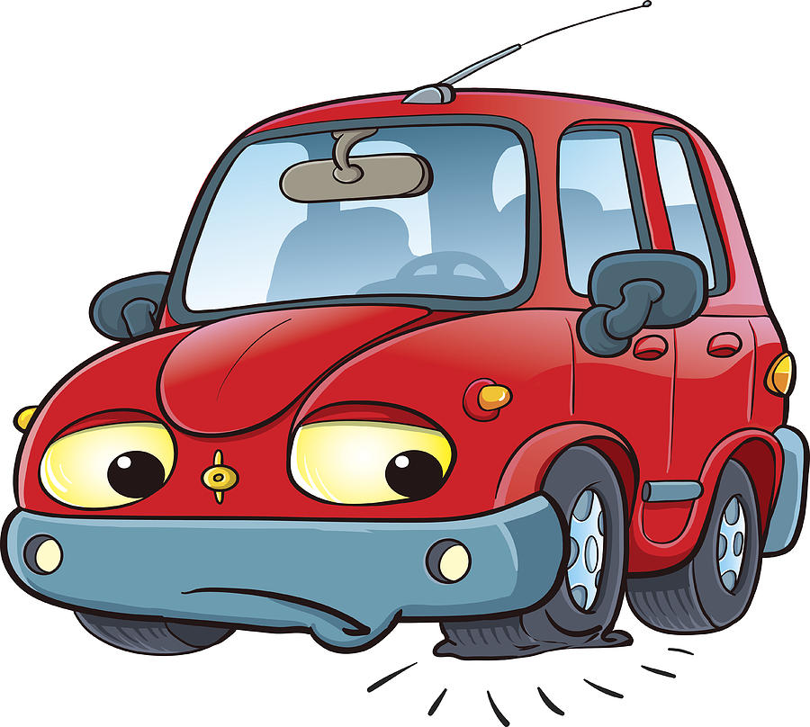 Cartoon Car On The Road With A Flat Tire By Zaricm