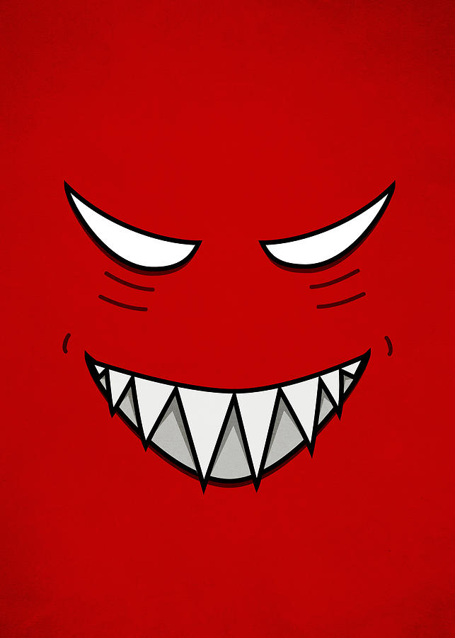 Evil Grin Digital Art - Cartoon Grinning Face With Evil Eyes by Boriana Giormova