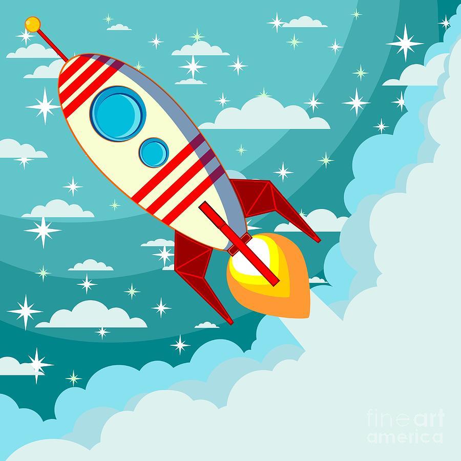 Fiction Digital Art - Cartoon Rocket Taking Off Against The by Alekseiveprev