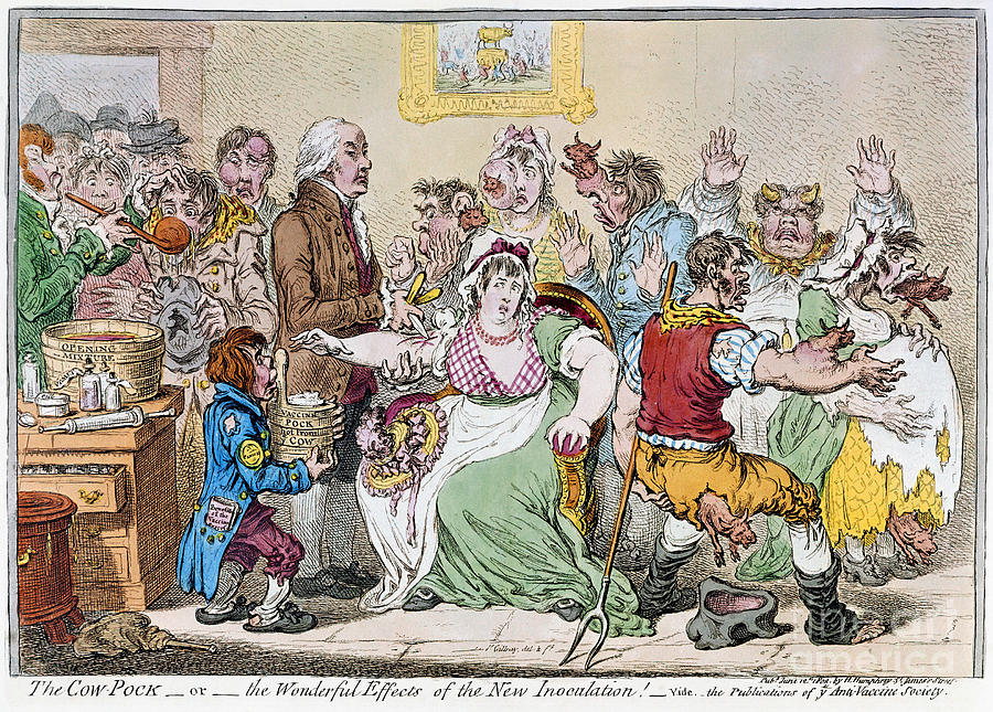 1802 Drawing - Cartoon - Vaccination, 1802 by Granger