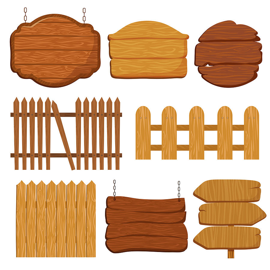 Cartoon Wooden Garden Fence Blank Wood Banners And Signs Vector Set By Microvone