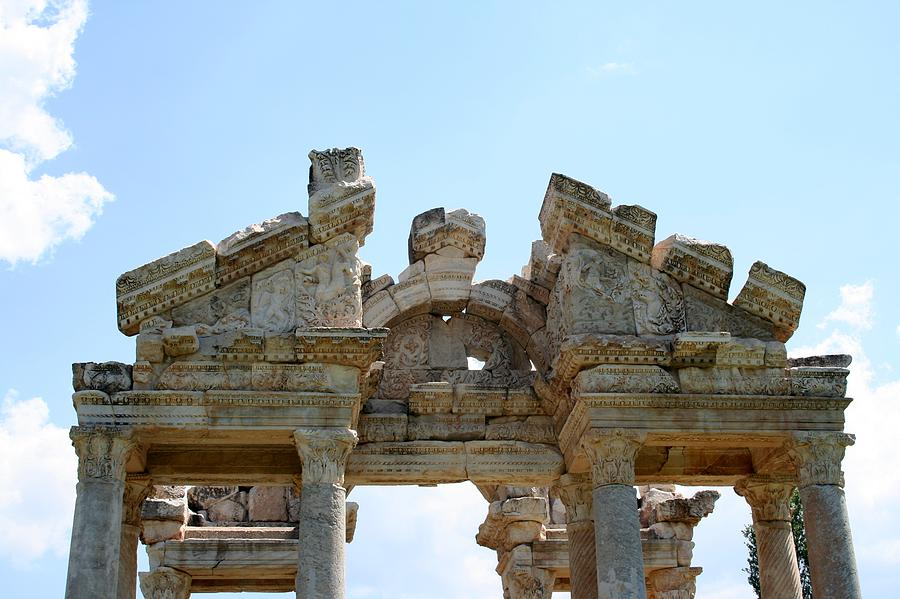 Aphrodisias Photograph - Carved Marble Of The Monumental Gate by Tracey Harrington-Simpson