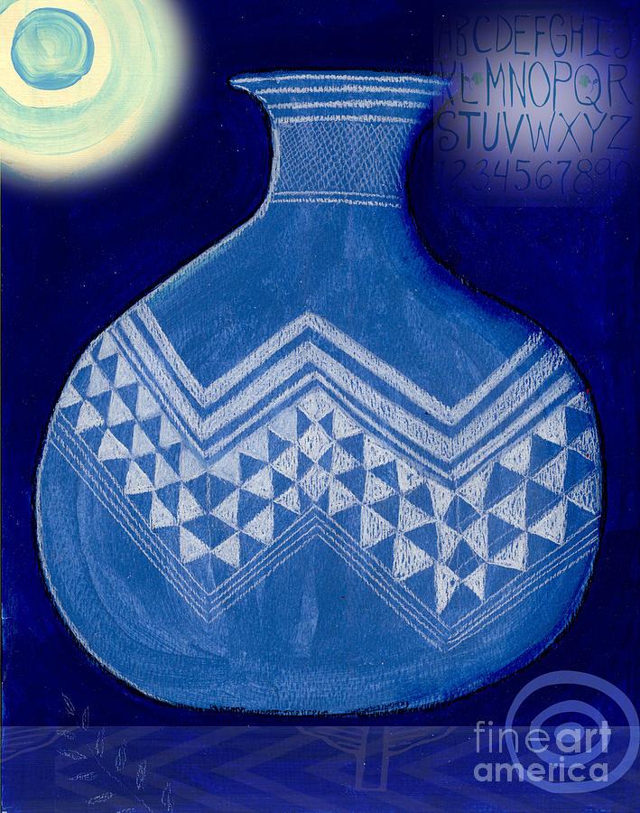 Blue Mixed Media - Carved Vase Under the Moon by Elaine Jackson