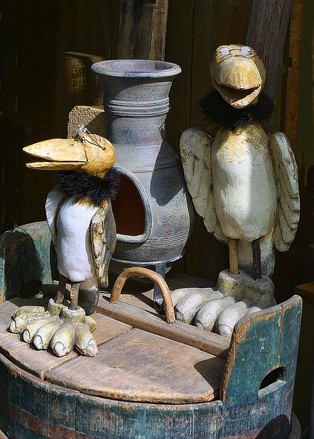 Crafts Photograph - Carved Wooden Birds by Linda Phelps