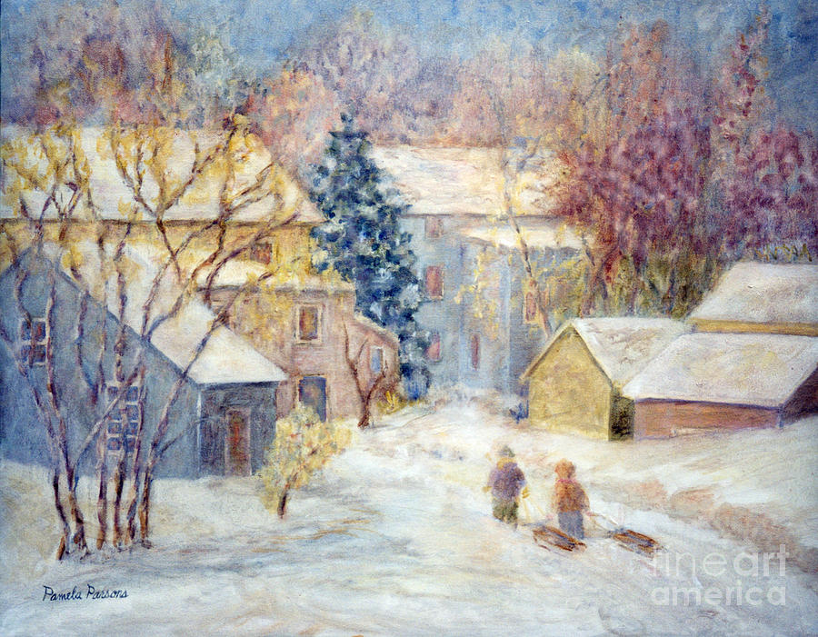 Christmas Gift Painting - Carversville Snow by Pamela Parsons
