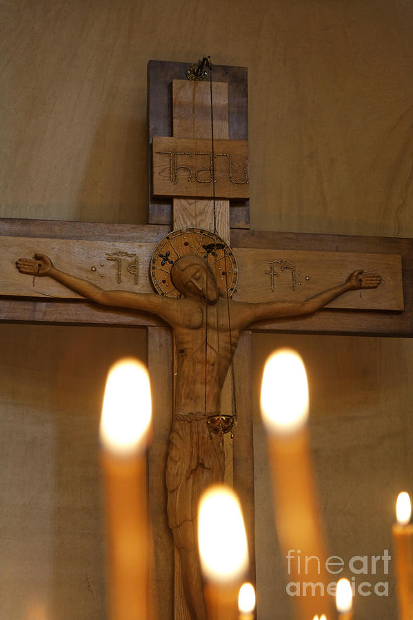 Jesus Photograph - Carving Of Jesus Christ On The Cross Inside Tsminda Sameba Cathedral Tbilisi by Robert Preston