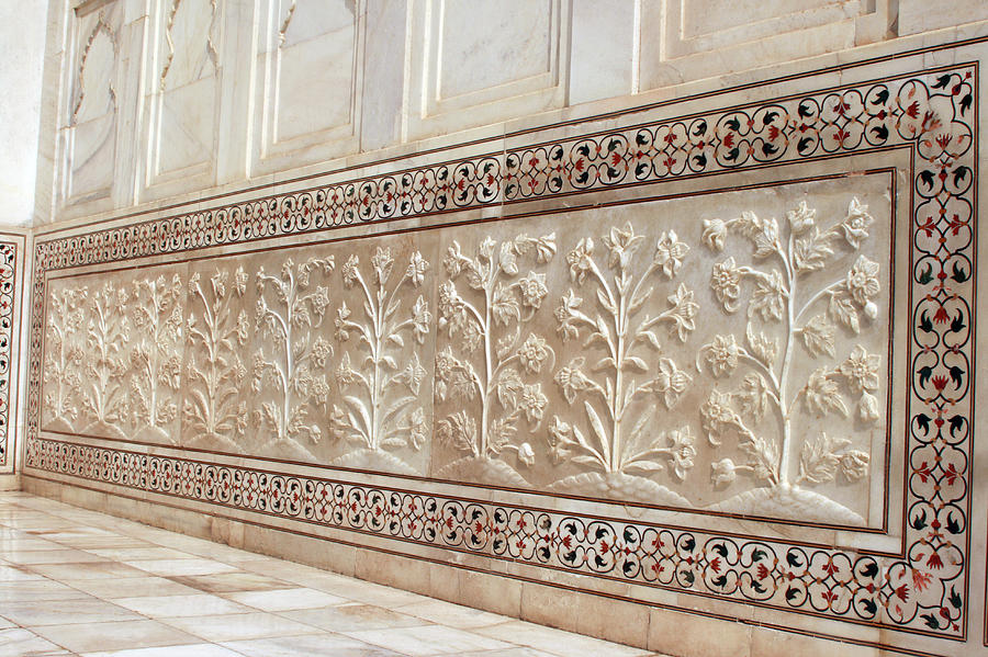 Carvings On The Marble Wall, Taj Mahal Photograph by Visage
