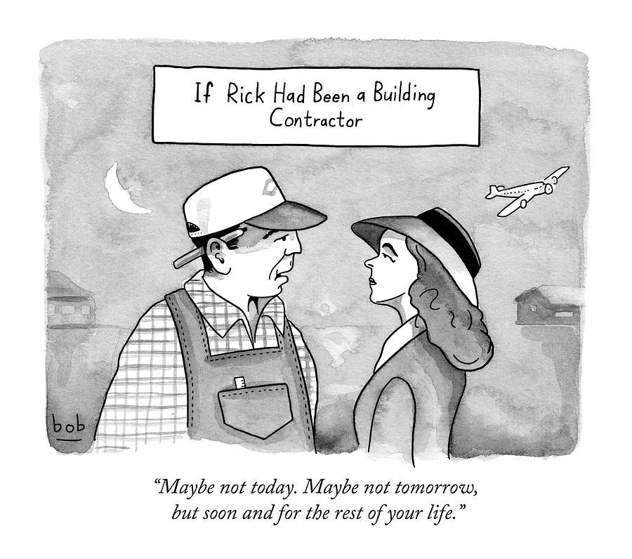 Casablanca Parody.  If Rick Was A Building Drawing by Bob Eckstein