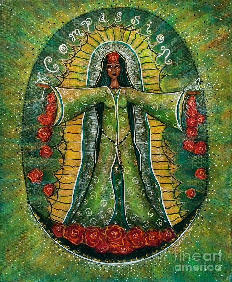 Black Madonna Painting - Cascade Of Roses Madonna by Deborha Kerr