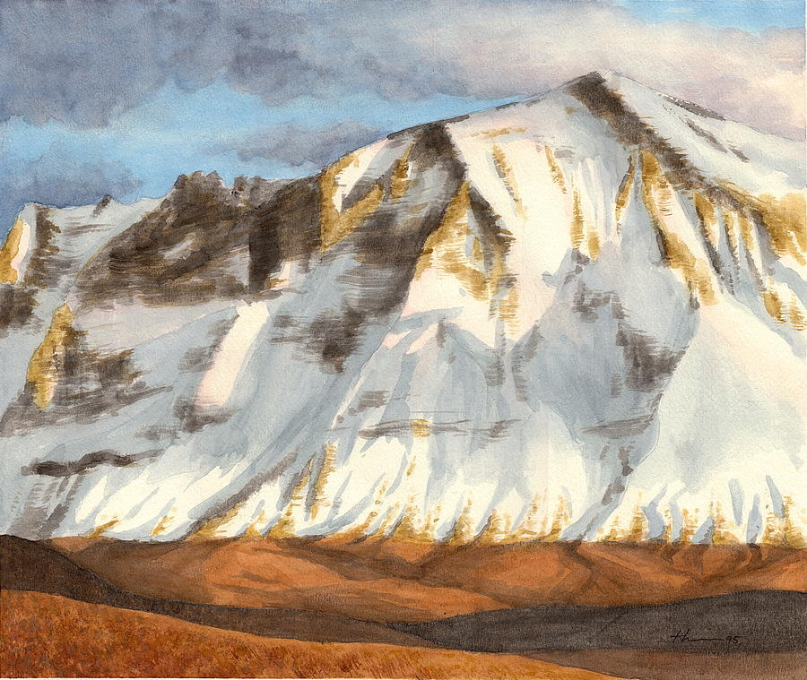 Cascades Mountain Watercolor Painting Drawing by Mike Theuer