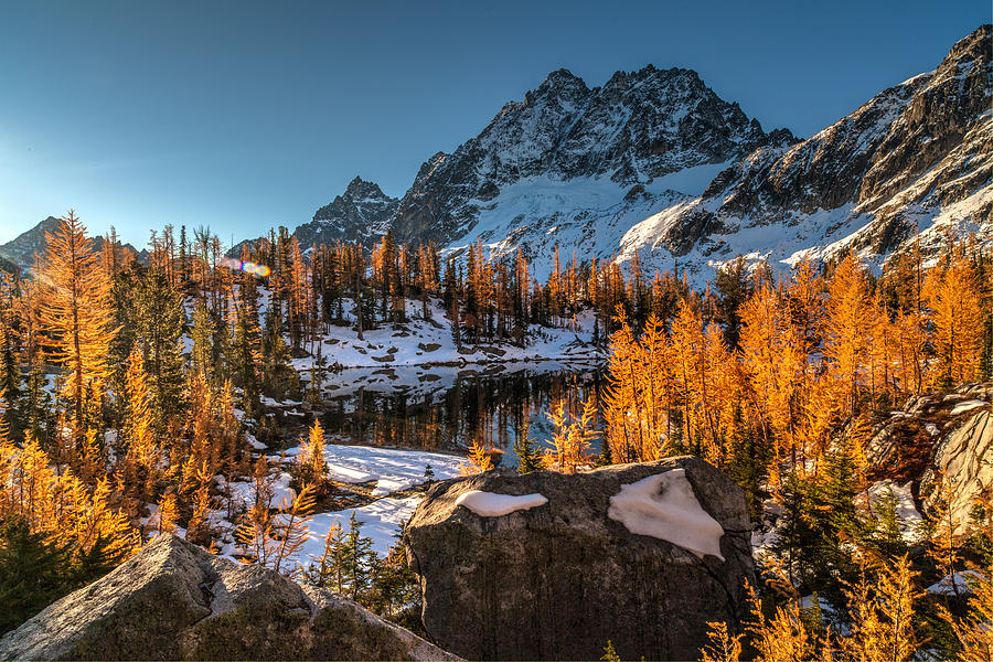 Fall Colors Photograph - Cascades Ring Of Larches by Mike Reid