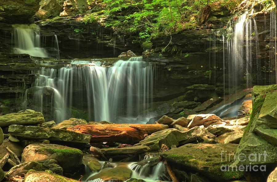 Ricketts Glen Photograph - Cascading Through Glen Leigh by Adam Jewell