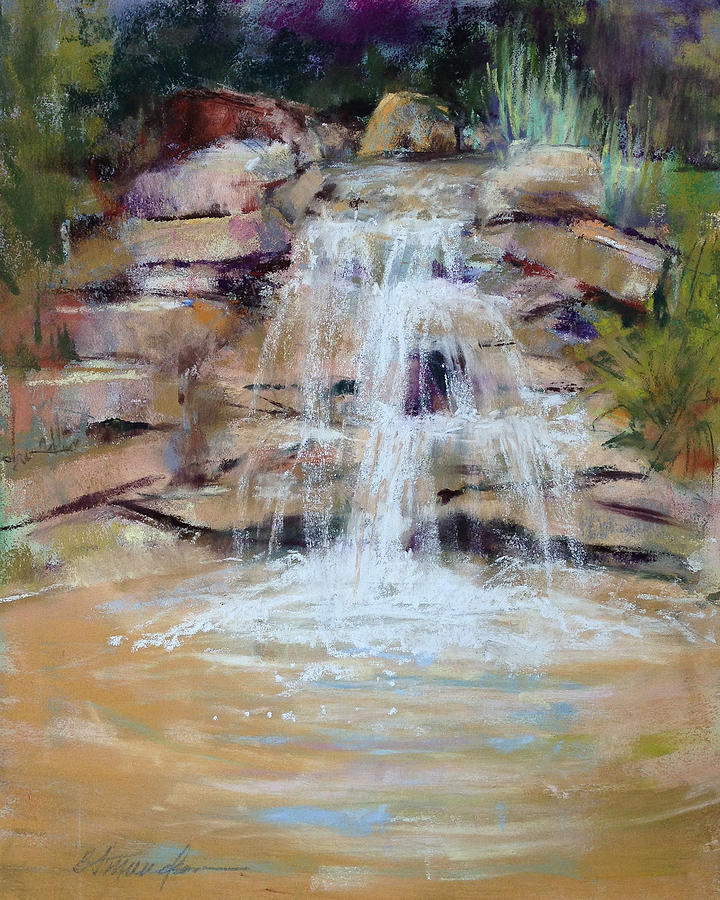 Rocks Pastel - Cascading Water by Beverly Amundson