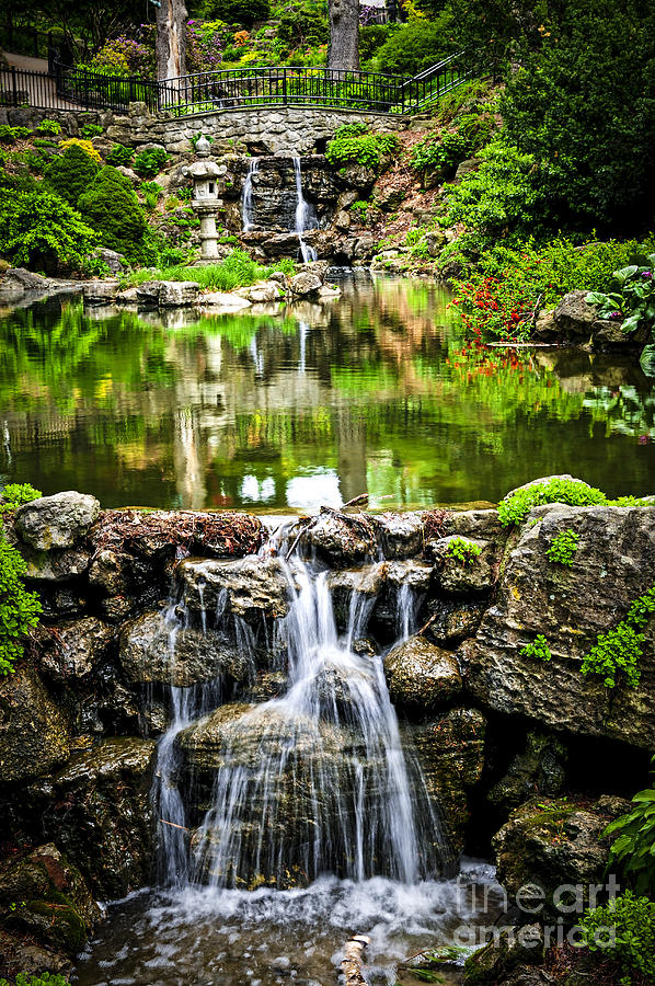 Waterfall Photograph - Cascading Waterfall And Pond by Elena Elisseeva