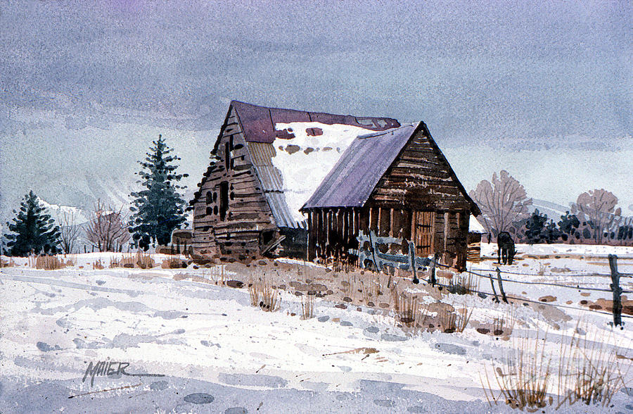 Utah Painting - Cache Valley Barn by Donald Maier