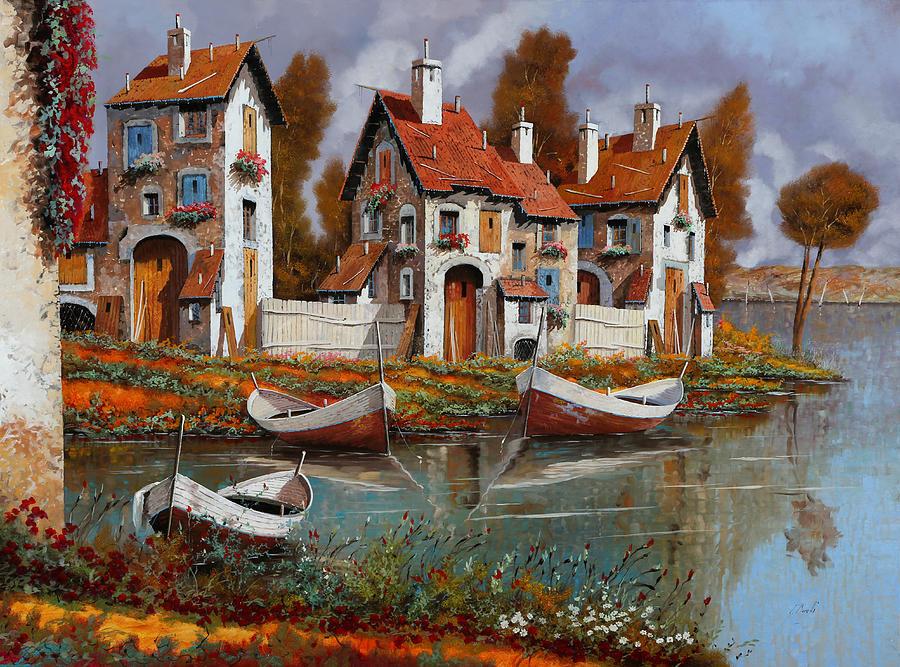 Village Painting - Case A Cerchio by Guido Borelli