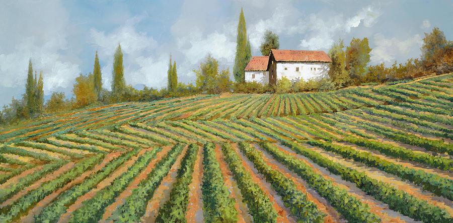 Vineyard Painting - Case Bianche Nella Vigna by Guido Borelli