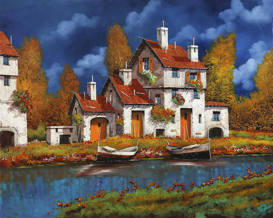 White House Painting - Case Bianche Sul Fiume by Guido Borelli
