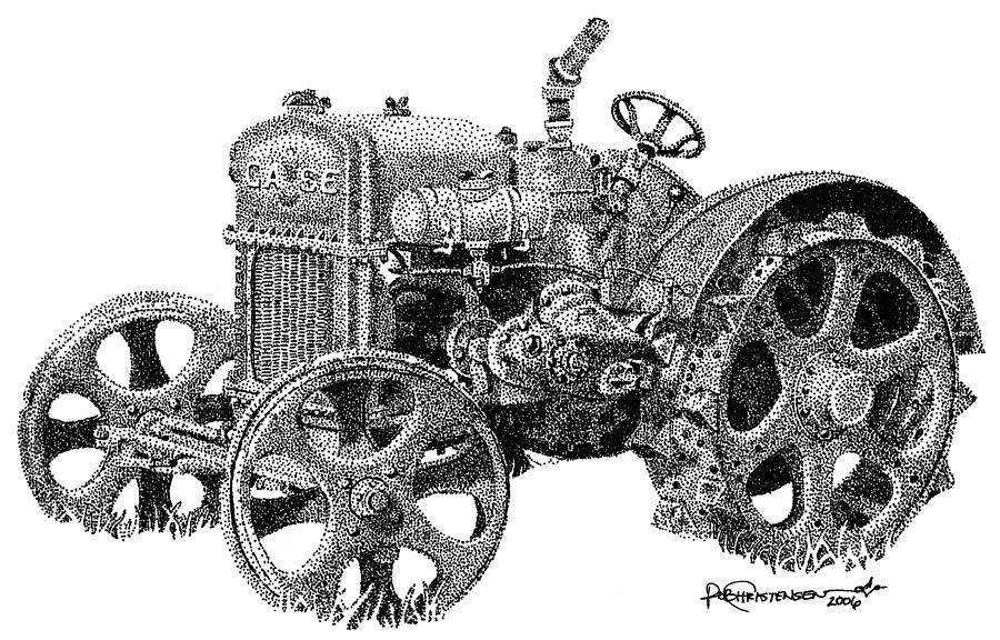 Tractor Drawing - Case Tractor by Rob Christensen