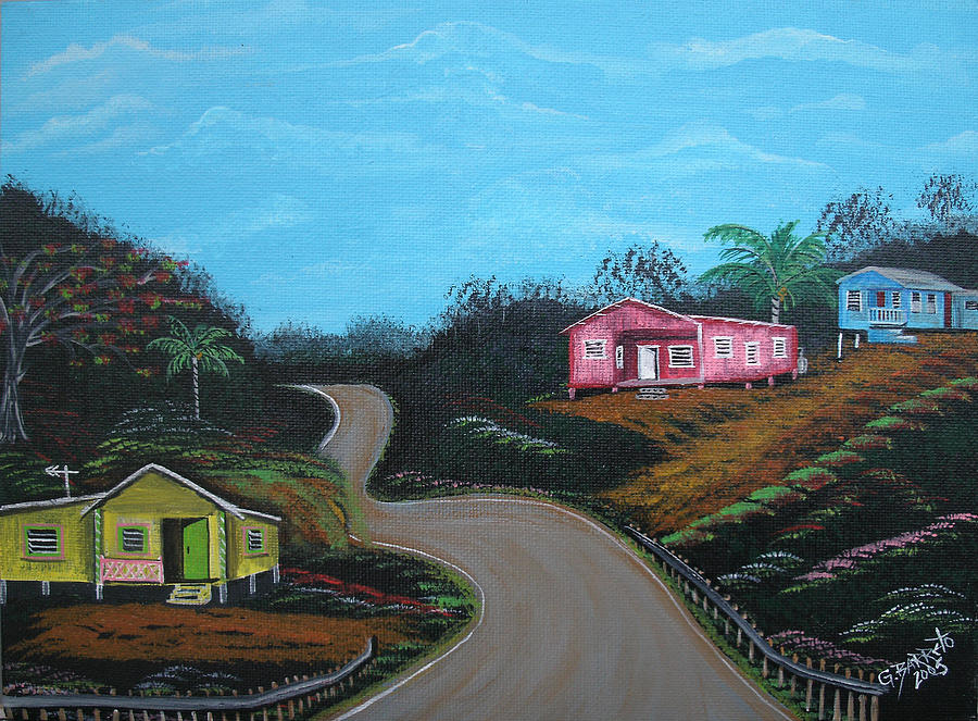 Wooden Houses Painting - Casitas De Madera by Gloria E Barreto-Rodriguez