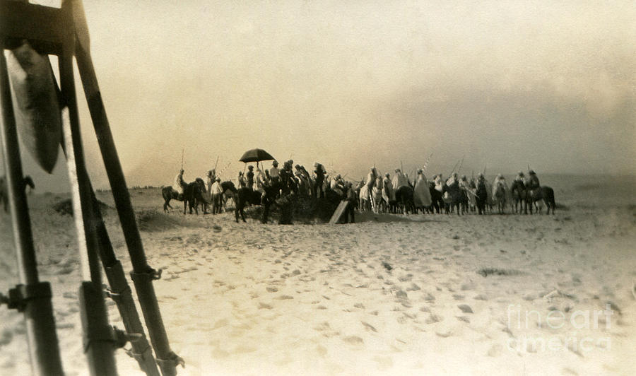 Silent Photograph - Cast and Crew for The Sheik in 1921 on Hueneme Beach by Sad Hill - Bizarre Los Angeles Archive
