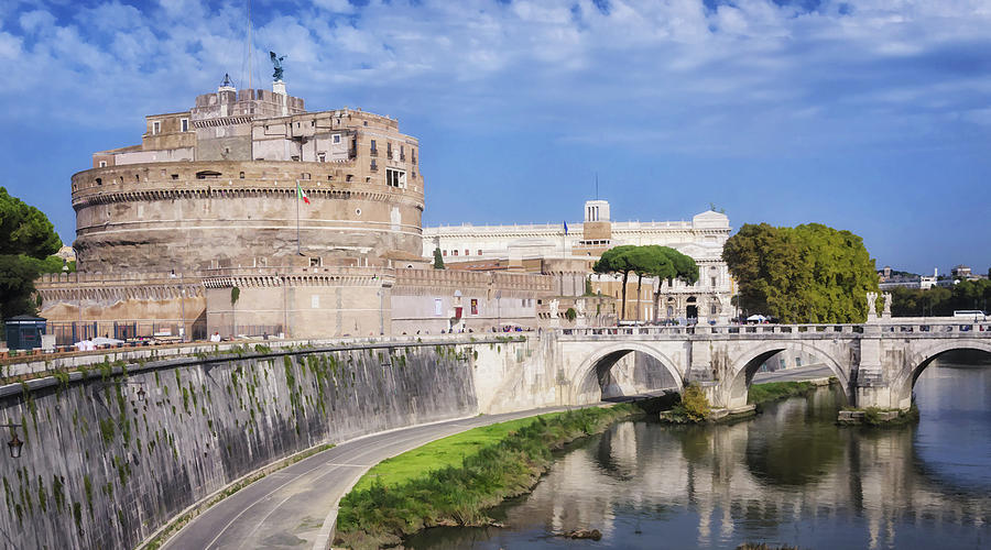 Ancient Photograph - Castel Sant Angelo by Joan Carroll