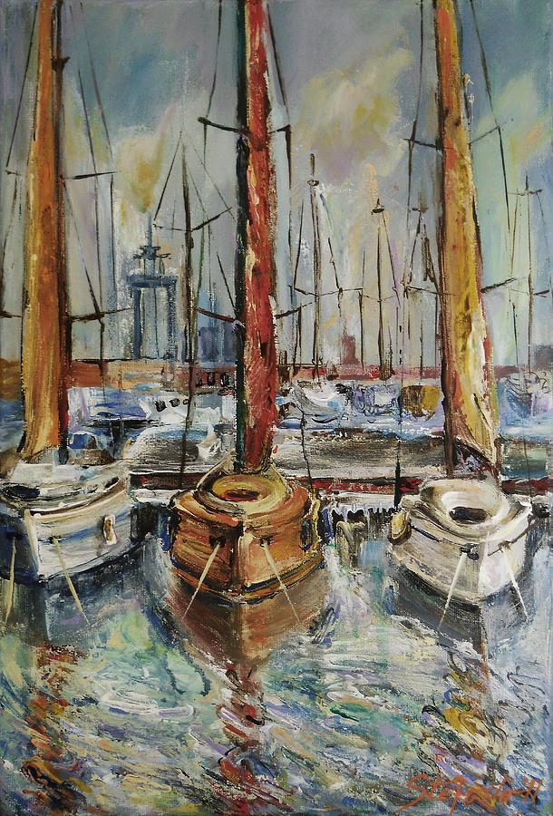 Traditional Digital Art - Castellon Boats At Noon by Stefano Popovski