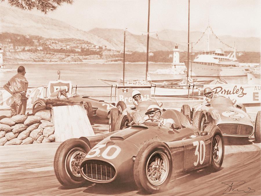 Lancia Painting - Castellotti Moss Fangio Ascari - Lancia D50  Mercedes Montecarlo 1955 by Alberto Ponno