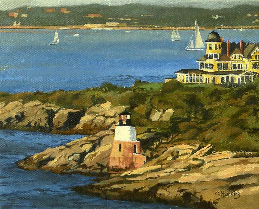 Christine Hopkins Painting - Castle Hill Light and Inn Newport Rhode Island by Christine Hopkins