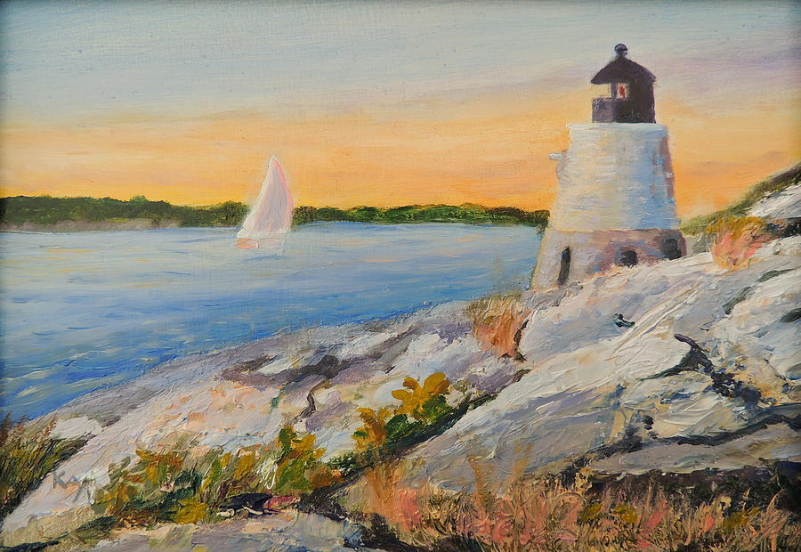 Castle Hill Lighthouse Painting - Castle Hill Light House Newport Ri by Patty Kay Hall