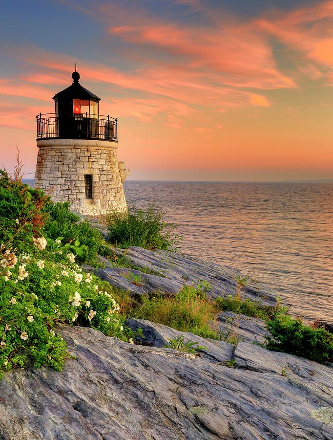 Lighthouse Photograph - Castle Hill Lighthouse-rhode Island by Thomas Schoeller
